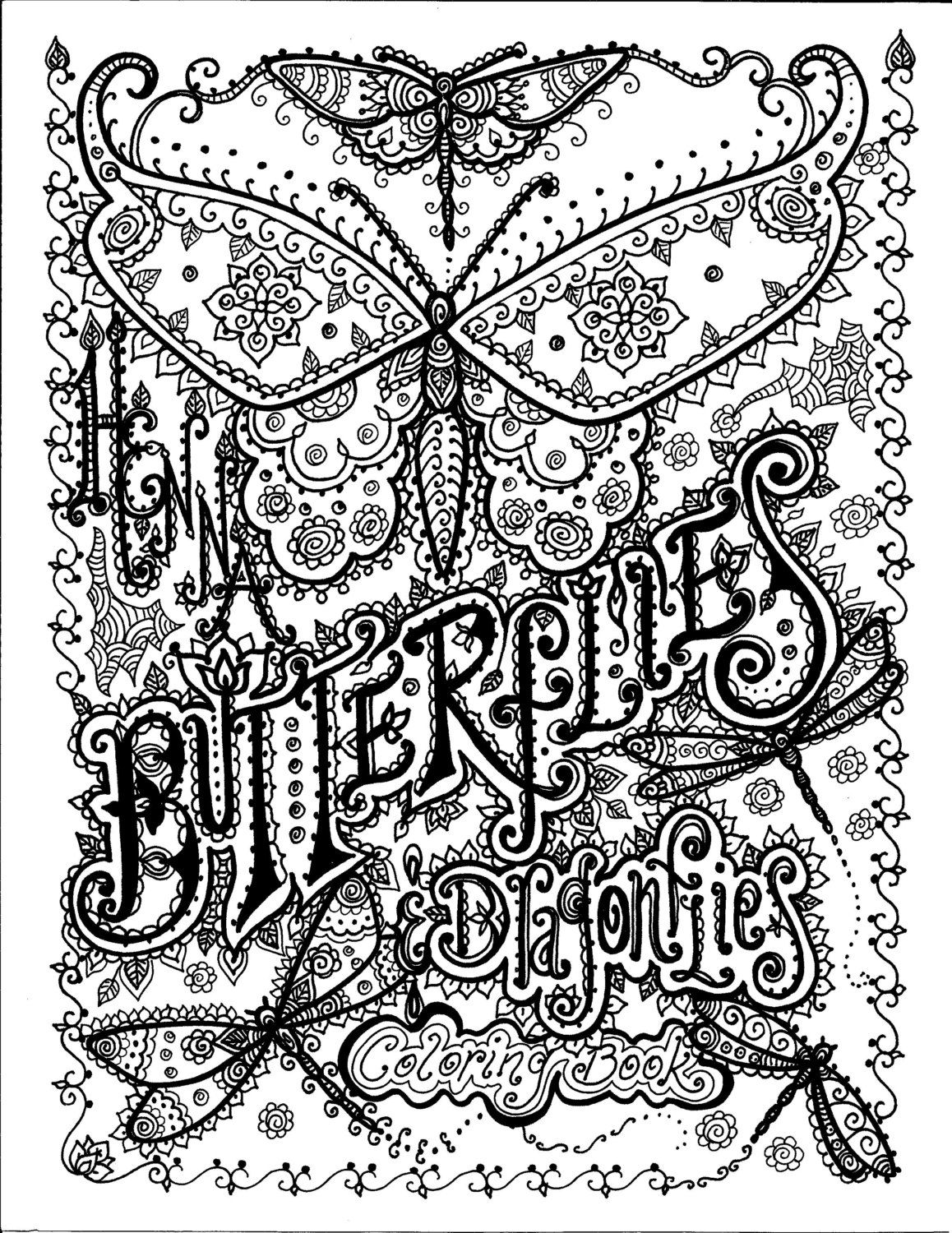 4 pages to color Instant Download Butterfly and Dragonfly Art to ...