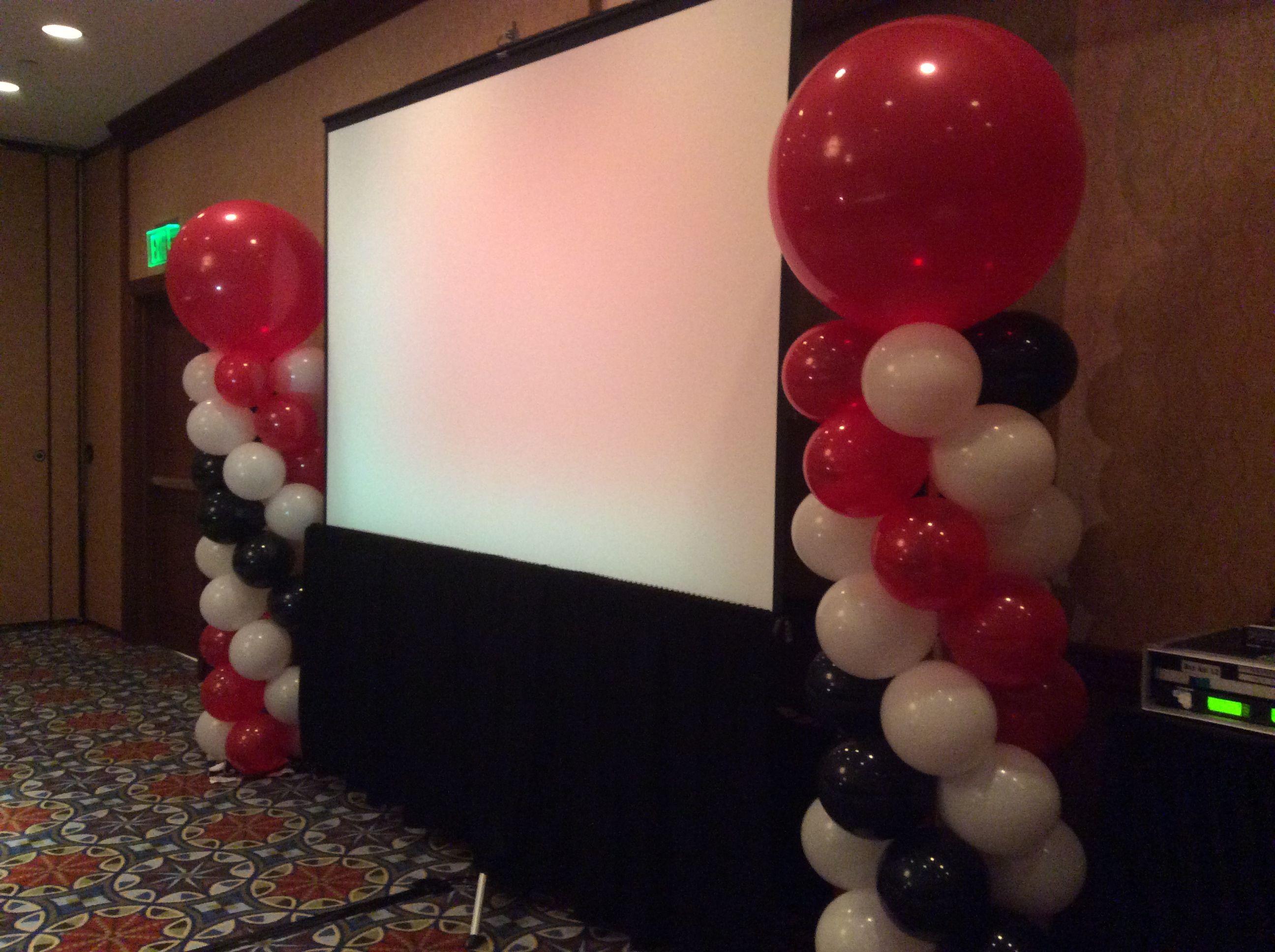 Red Black White Balloon Columns Balloon Columns Black And White Balloons Balloon Centerpieces
