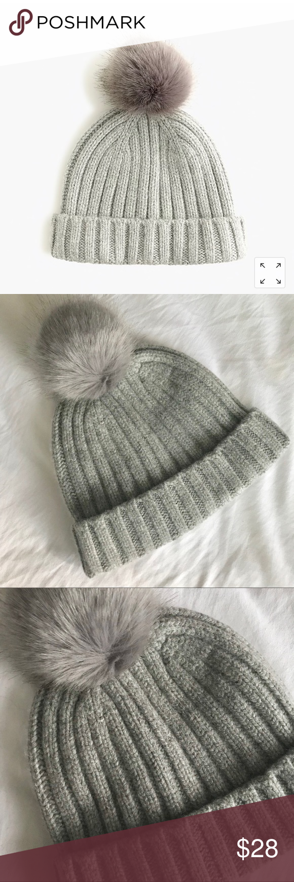 b19f75d32e0 J. Crew Grey Ribbed Beanie with Faux Fur Pom Pom Ribbed beanie with faux  fur pom pom from J. Crew in the color Heather Grey. New with tags