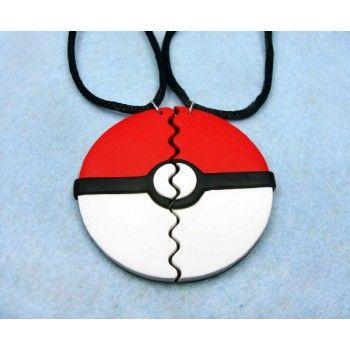 Broken Pokeball, necklace,collar,chain,cordon,cord,cadena,polymer clay,pokemon,anime,manga,video juegos,video games,