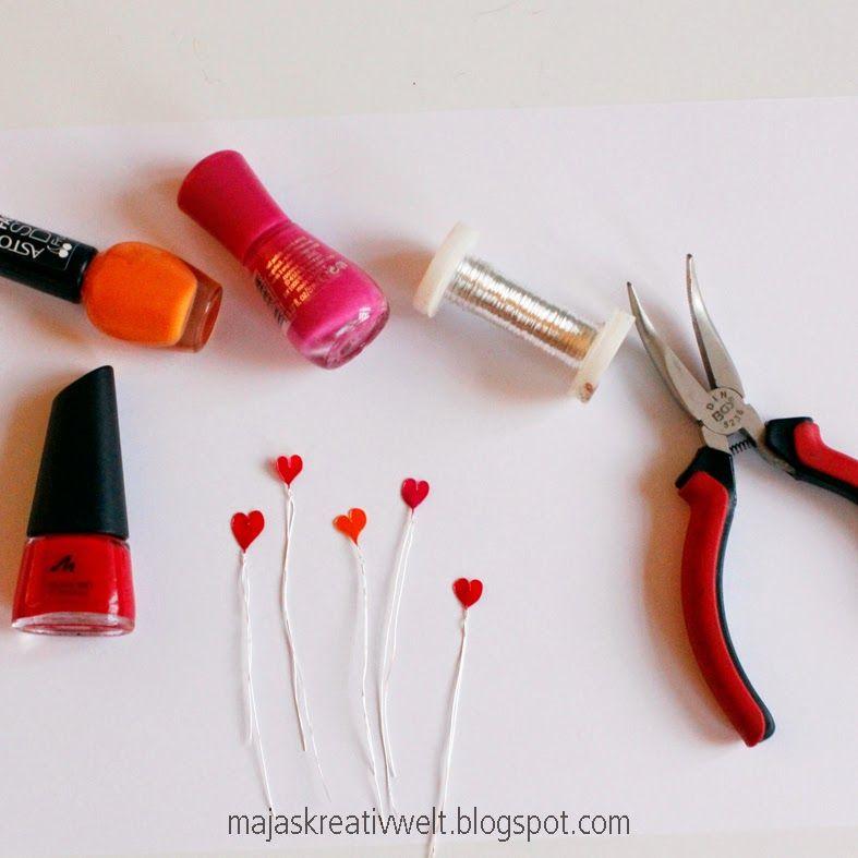 diy zum valentinstag 0 2mm draht zum herz formen und mit nagellack f llen nagellack. Black Bedroom Furniture Sets. Home Design Ideas