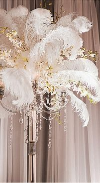 20pc White Ostrich Feather used for Wedding Centerpiece Eiffel Tower ...