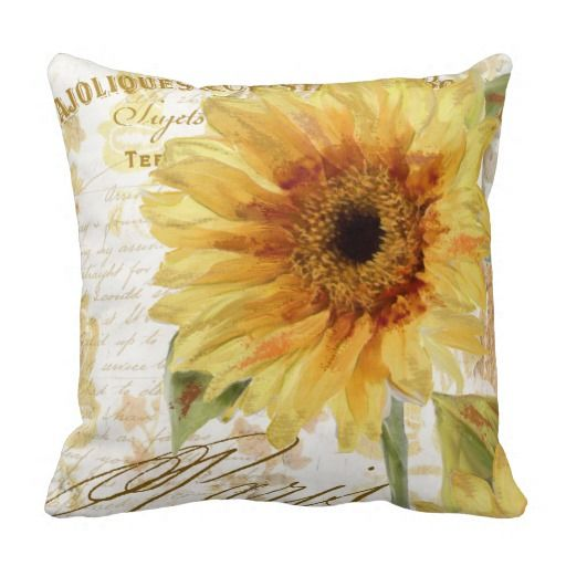 Painted Paris Sunflower Throw Pillow