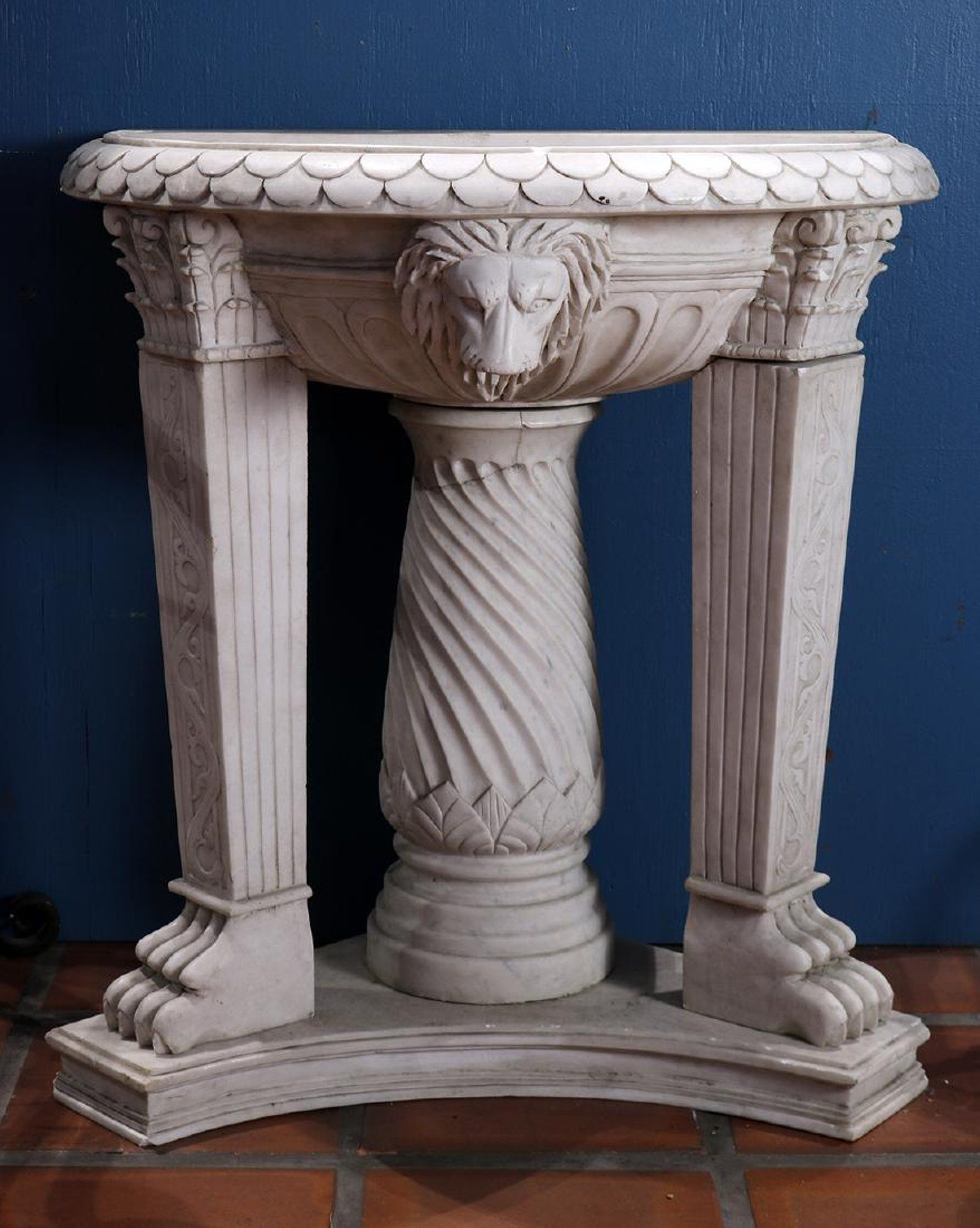 sea with furniture marble sink encore cast shell pedestal shells decorations gallery