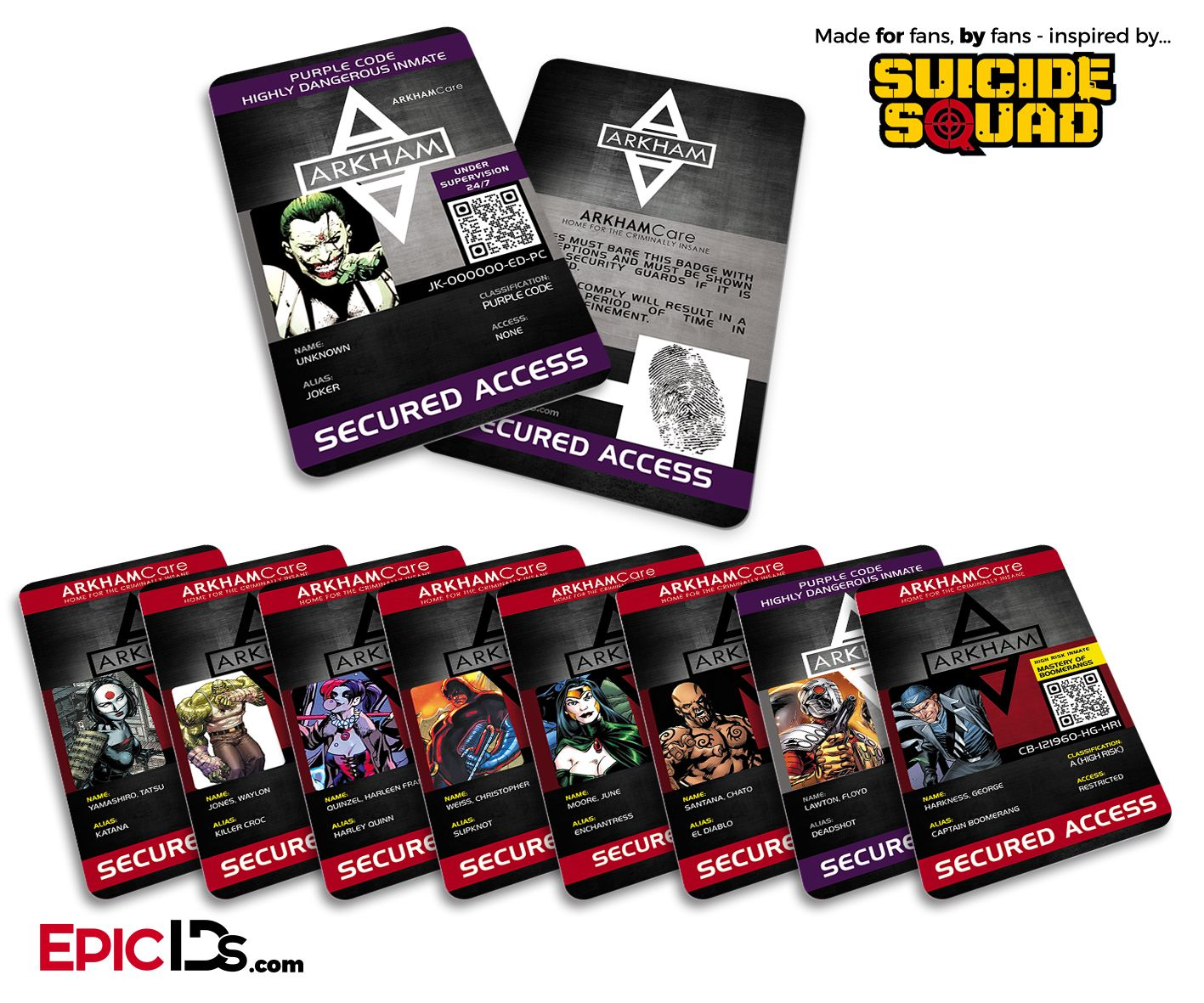 Suicide Squad - Arkham Inmate IDs Collection