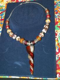 Copper & White Beaded Necklace w/Twisted Pendant - $30 + s/h