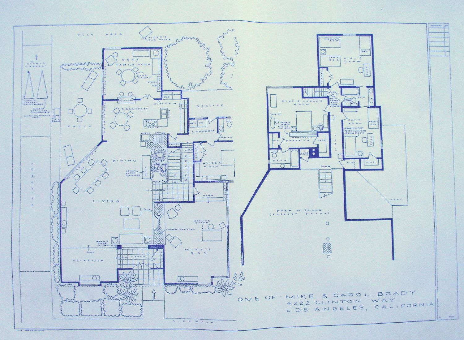 House from brady bunch tv show blueprint floor plans sims wonderful 24 x 36 blueprint of the brady bunch house made the old fashioned way with ammonia activated paper on a diazit blueprint machine malvernweather Images