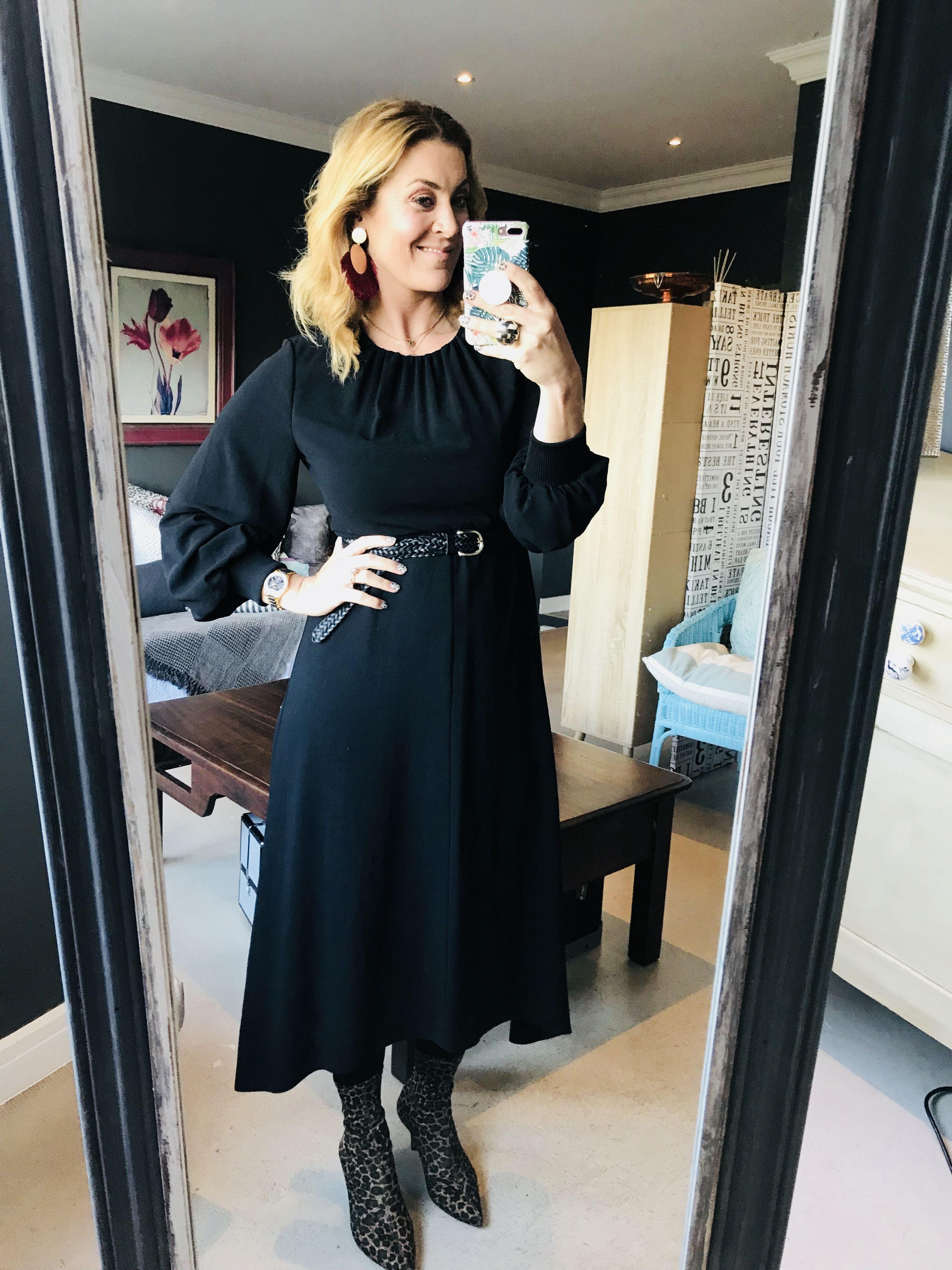 Earrings blonde black dress belt leopard print heels watch