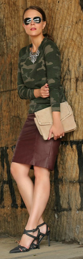 Camo + Leather = Fall Perfection