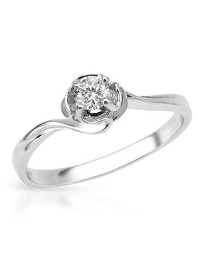 Brand New Solitaire Ring With Genuine  Clean Diamond  14K White Gold - Certificate Available.
