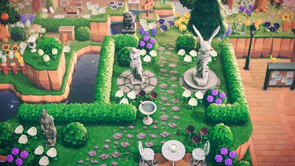 Trying To Put A Statue Garden In A Very Small Space But I Like How It S Turned Out So Far Horizondesigns In 2020 Space Animals Garden Animals Animal Crossing Qr