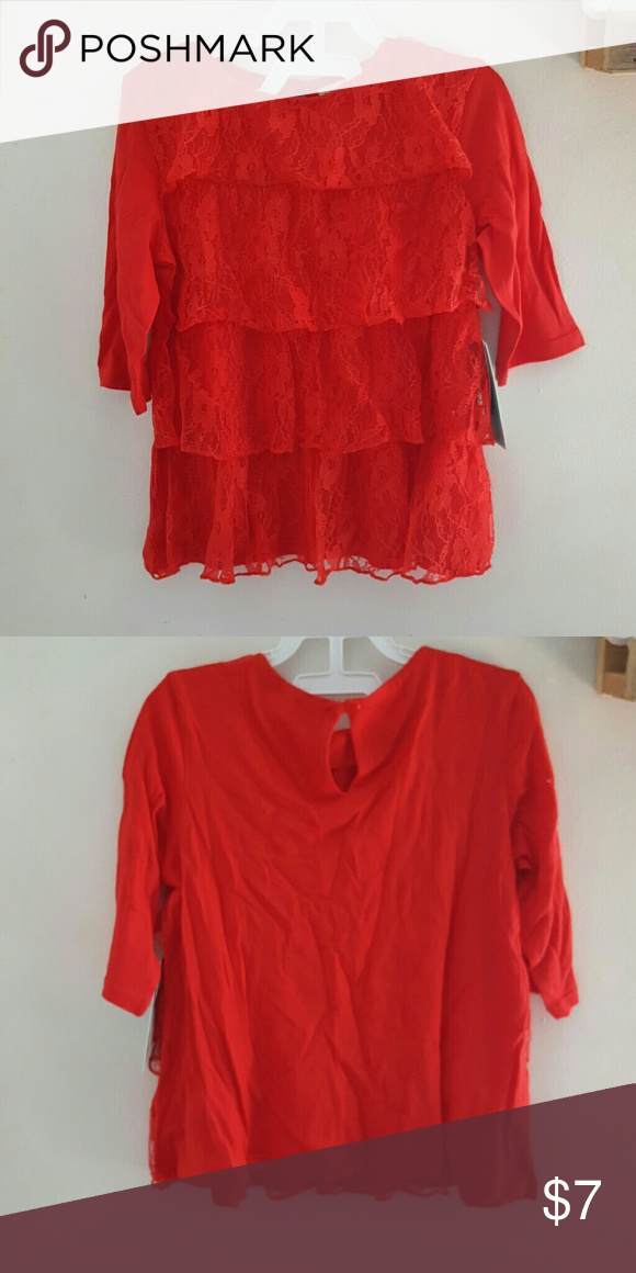 HOLIDAY RED LACE girl's top BNWT. 60/40 modal/cotton with nylon lace. Keyhole back closure. Very soft! Copper Key Shirts & Tops Tees - Long Sleeve