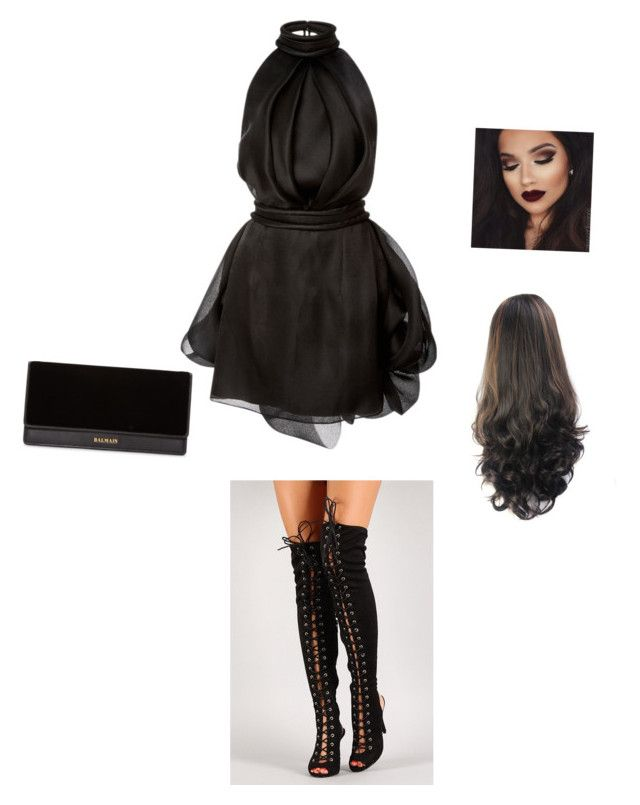 """""""Black happiness 📽"""" by jayla-bizzy on Polyvore featuring Brandon Maxwell and Balmain"""