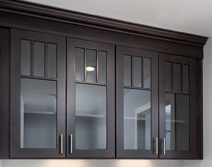 missisauga kichen cabinet glass styles | Black Mission style cabinets with mullion doors and glass ...