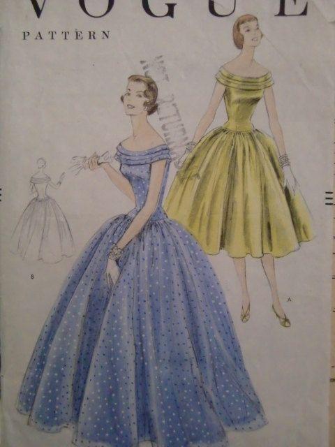 Vintage 1950s Vogue Pattern No 8602 Misses Formal by Elliesstudio, $15.00