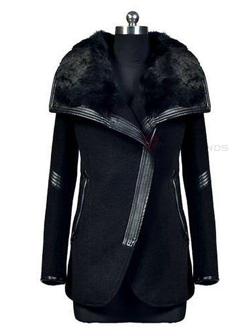 Appealing Fur Turn-Down Collar Full Sleeve Zipper Wool Women Leisure Trench Coat - BuyTrends.com