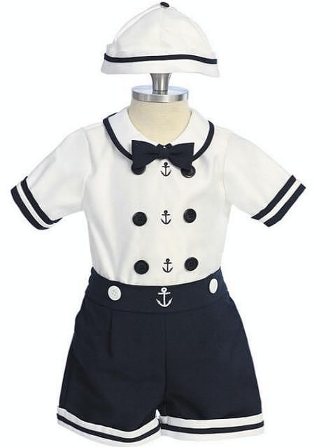 Baby Boy Toddler Captain Sailor Suits Formal Party Gift Nautica Outfits Navy S-7