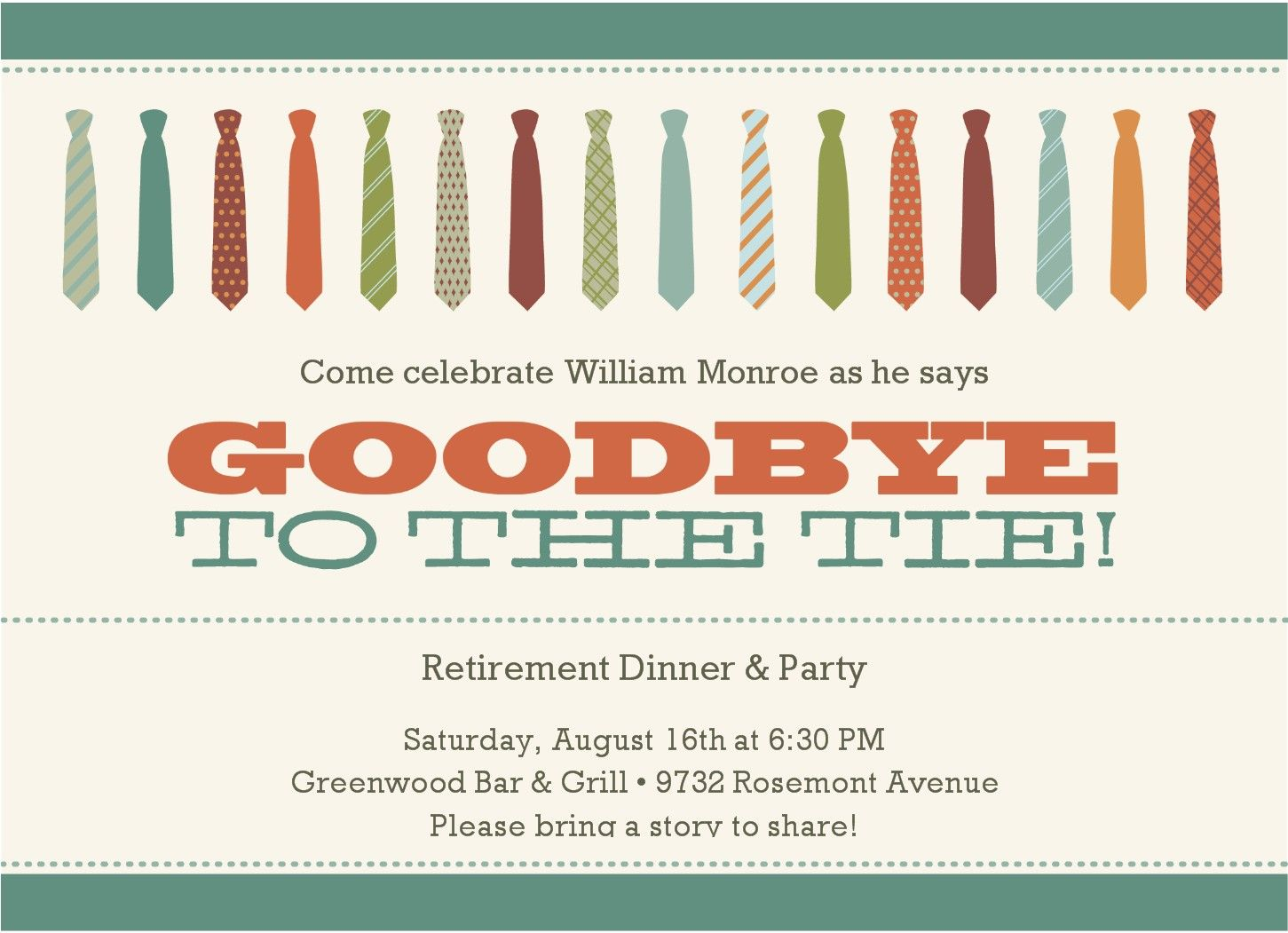 Kinds Of Work Tie Retirement Party Invitations Inspiration Ideas ...