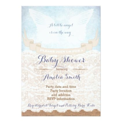 Angel wings Baby Shower Invitations for Boy