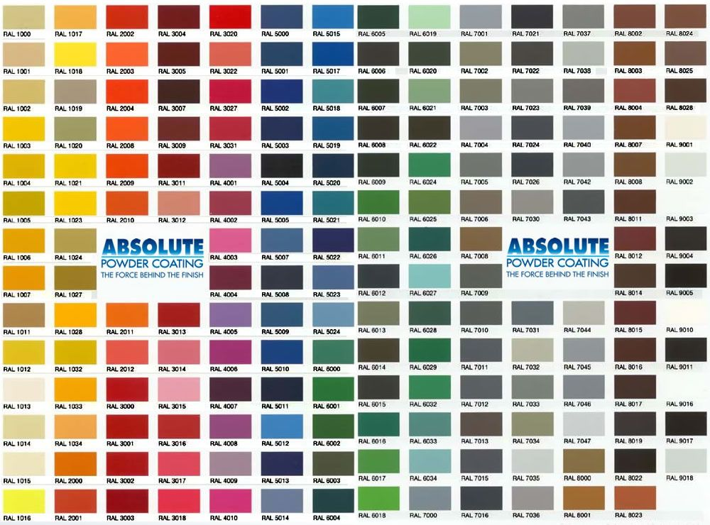 Powder coating ral colors south florida powder coat color charts