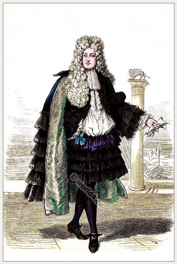 Baroque Man Wig Elizabethan 17th 18th Century Victorian Fancy Dress