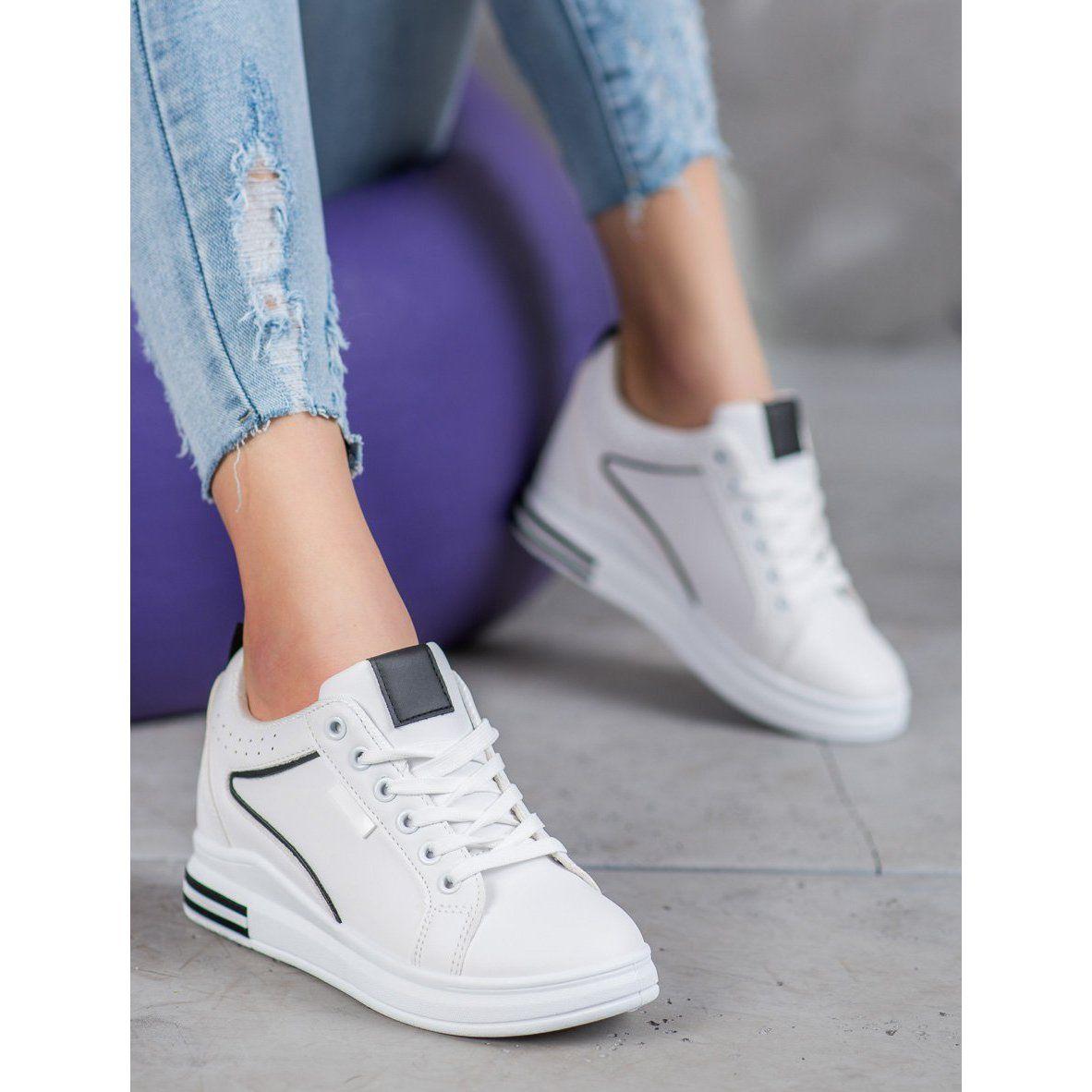 Shelovet Biale Obuwie Z Ukryta Koturna Wedge Sneaker Shoes Fashion