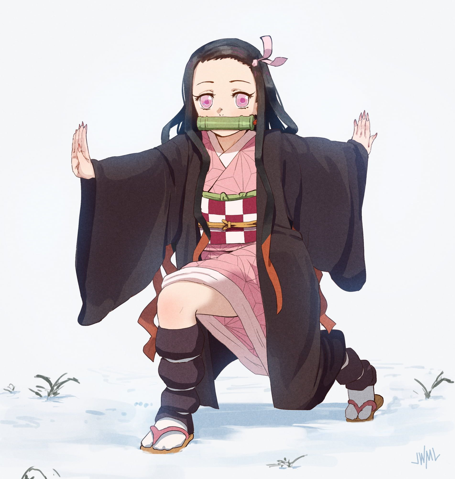 Kimetsu no Yaiba anime girls Japanese kimono long hair fan art black hair pink eyes simple background Kamado Nezuko