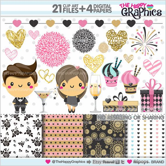 Celebration Clipart Graphics COMMERCIAL USE Kawaii Party New