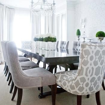Gray Velvet Dining Chairs Transitional Dining Room Lux Decor Grey Dining Room Transitional Dining Room Dining Room Furniture