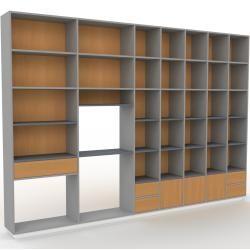Photo of Wohnwand Grau – Individuelle Designer-Regalwand: Schubladen in Eiche & Türen in Eiche – Hochwertige