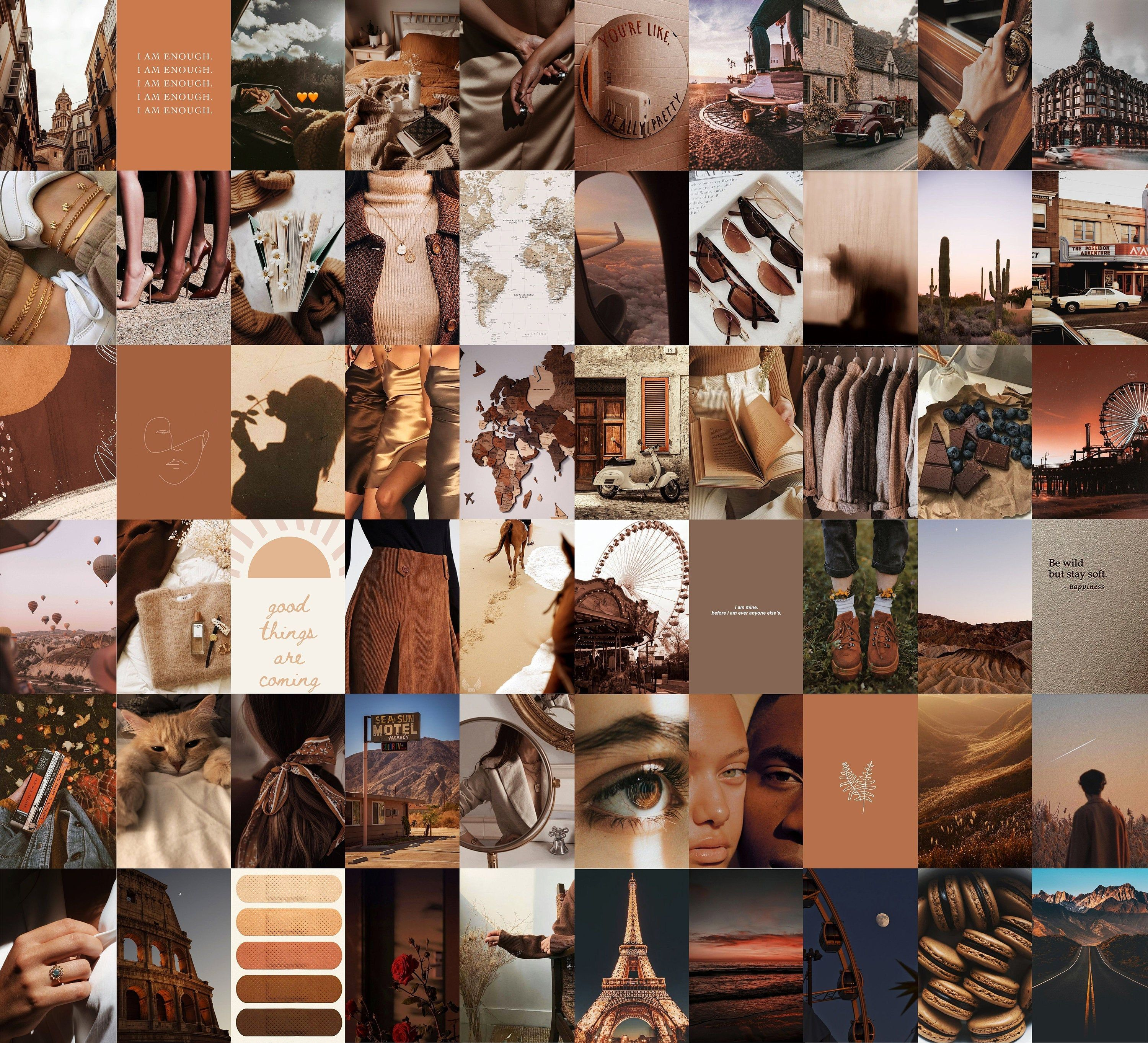 brown wall collage kit brown aesthetic photo collage 60