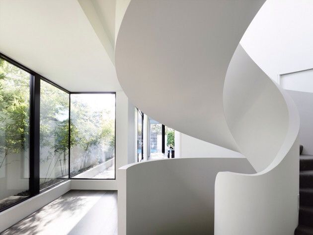 home residential modern contemporary architecture: white curved staircase
