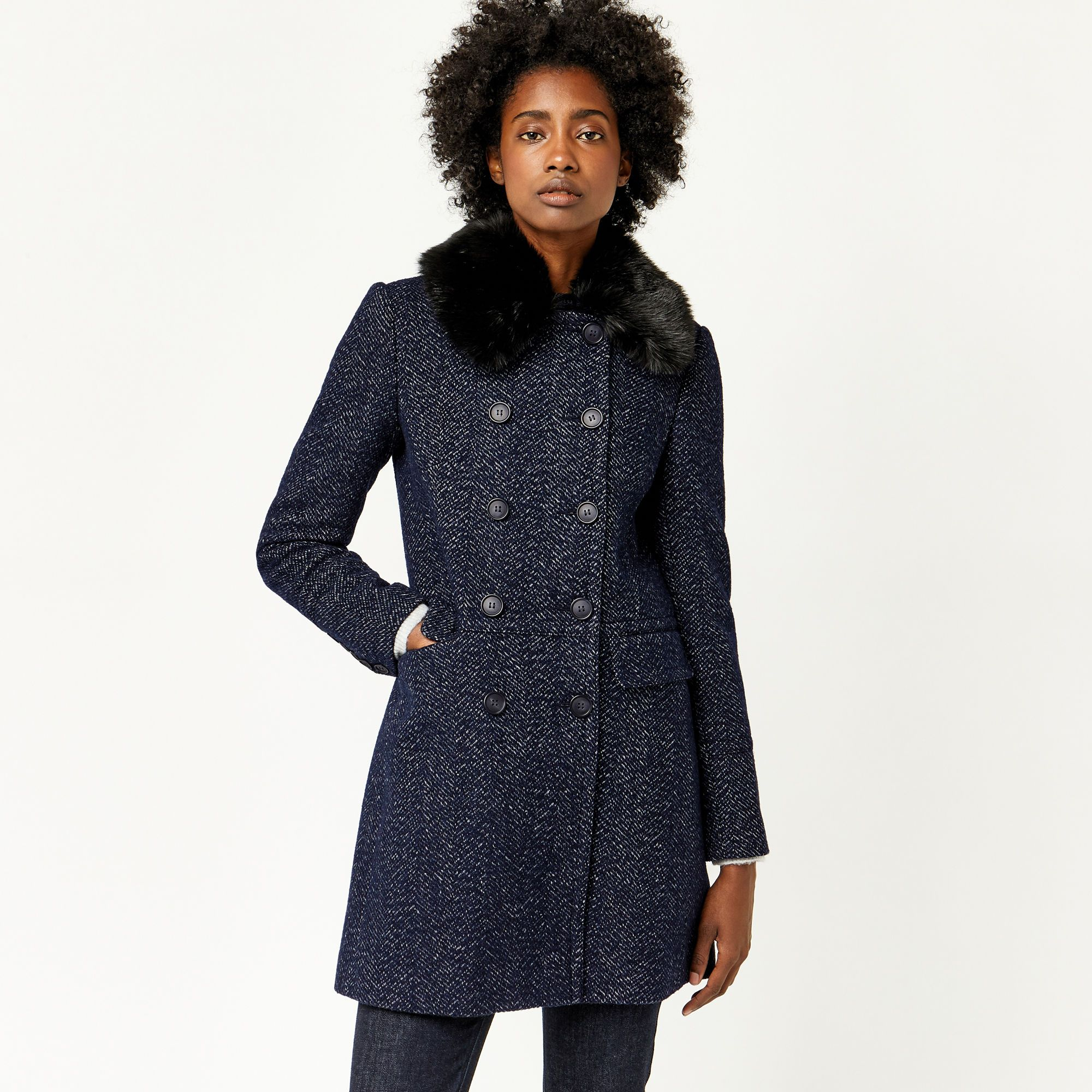 Warehouse, Swing Faux Fur Collar Coat Navy 1 | 2017 | Pinterest ...