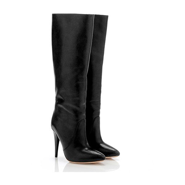 Loeffler Randall Myrna stiletto boot ($318) ❤ liked on Polyvore featuring shoes, boots, sapatos, обувь, zapatos, women, black boots, high heels stilettos, slip on boots e black high heel boots