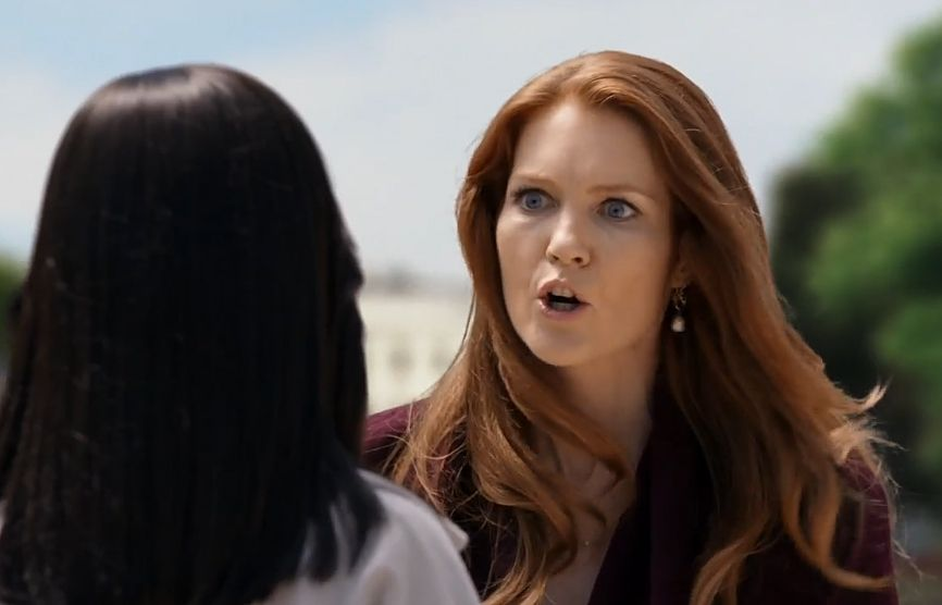 "04x01 ""Randy, Red... and Julia"" Abby (Darby Stanchfield)  is angry at Olivia in the season 4 premiere of Scandal, wearing her White House appropriate Peggy Li Creations Pearl Bubble Earrings."