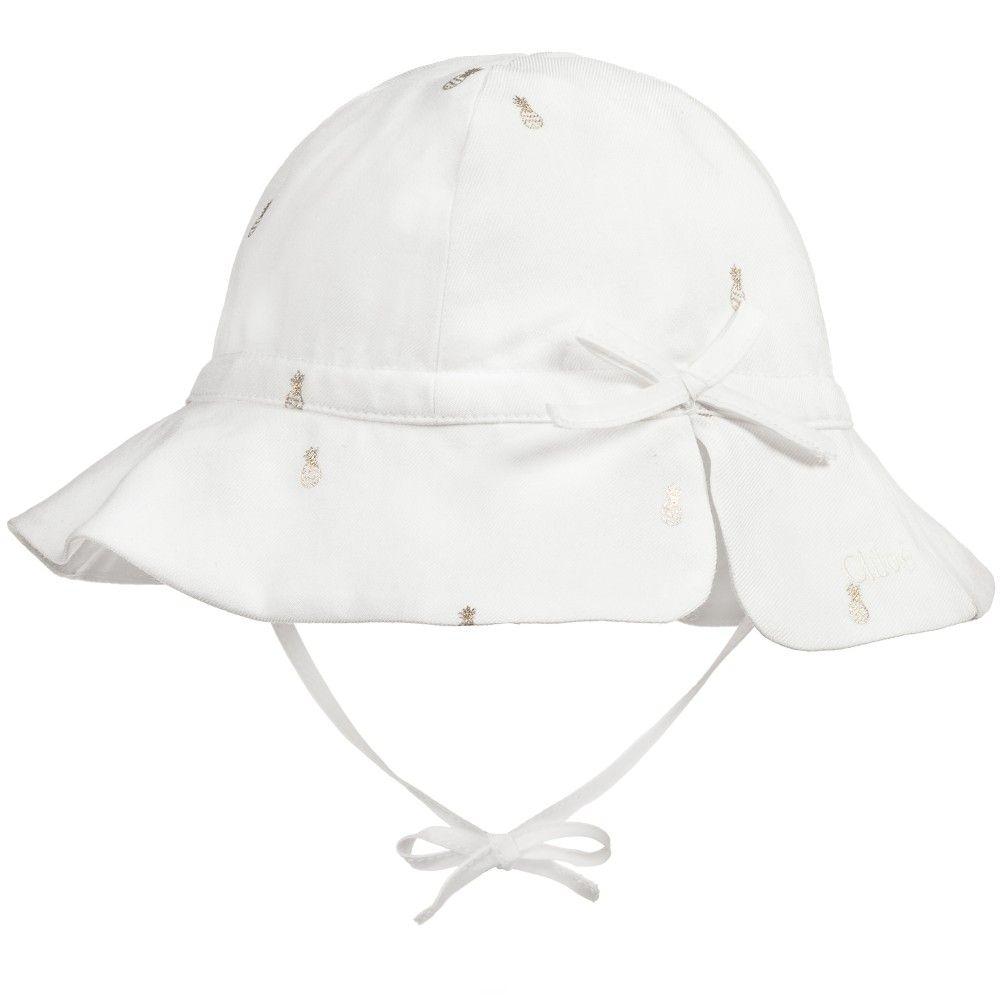 9464c2fc4f5 Girls Ivory   Gold Pineapple Sun Hat