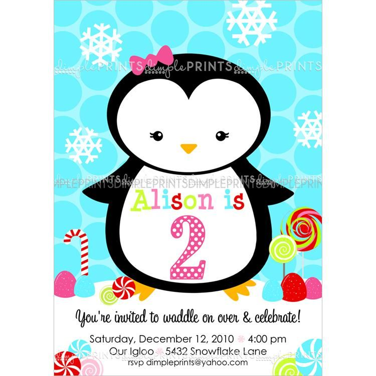 Penguin Candy Girl Printable Invite | Dimples, Winter birthday and ...