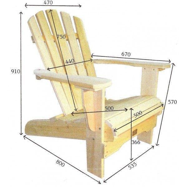 Fauteuil adirondack sans repose pieds fauteuil fixe bois - Fabriquer un repose pied en bois ...