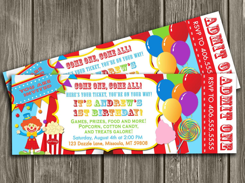 Printable Circus Ticket Birthday Invitation Carnival – Carnival Ticket Birthday Invitations