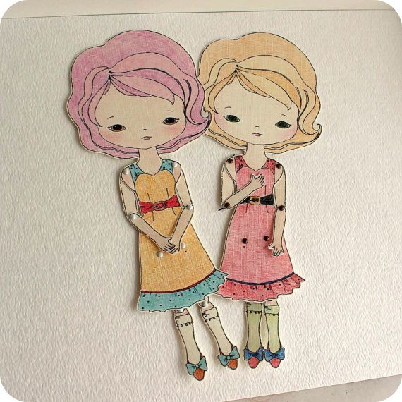 Articulated Paper Doll Prints  Cinnamon and by Gingermelon on Etsy
