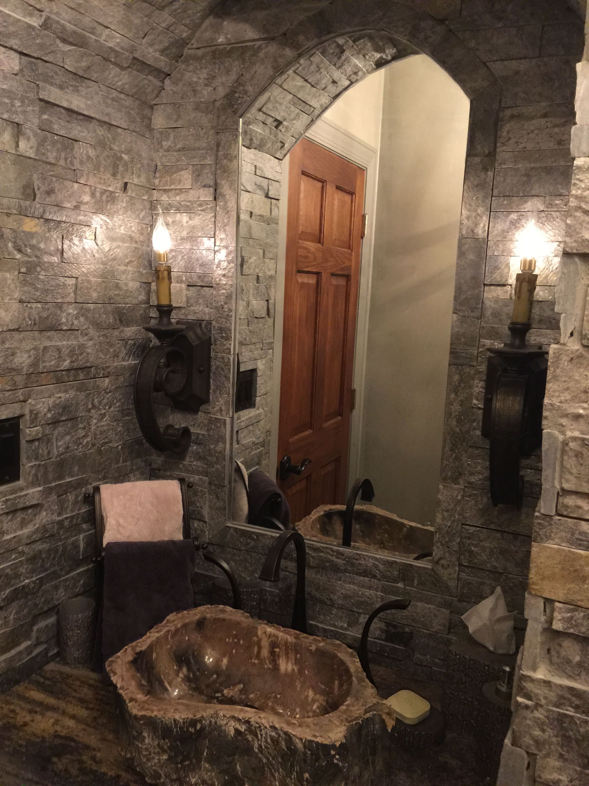 Castle Stone Floor : Our castle old world powder room with stone from floor