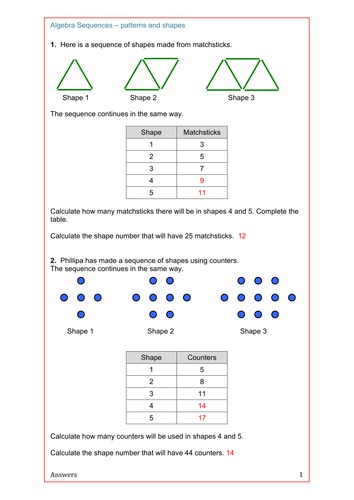 Maths Algebra Ks2 Ks3 Ks4 Revision Sequences From Patterns And Shapes Algebra Math Patterns Maths Algebra