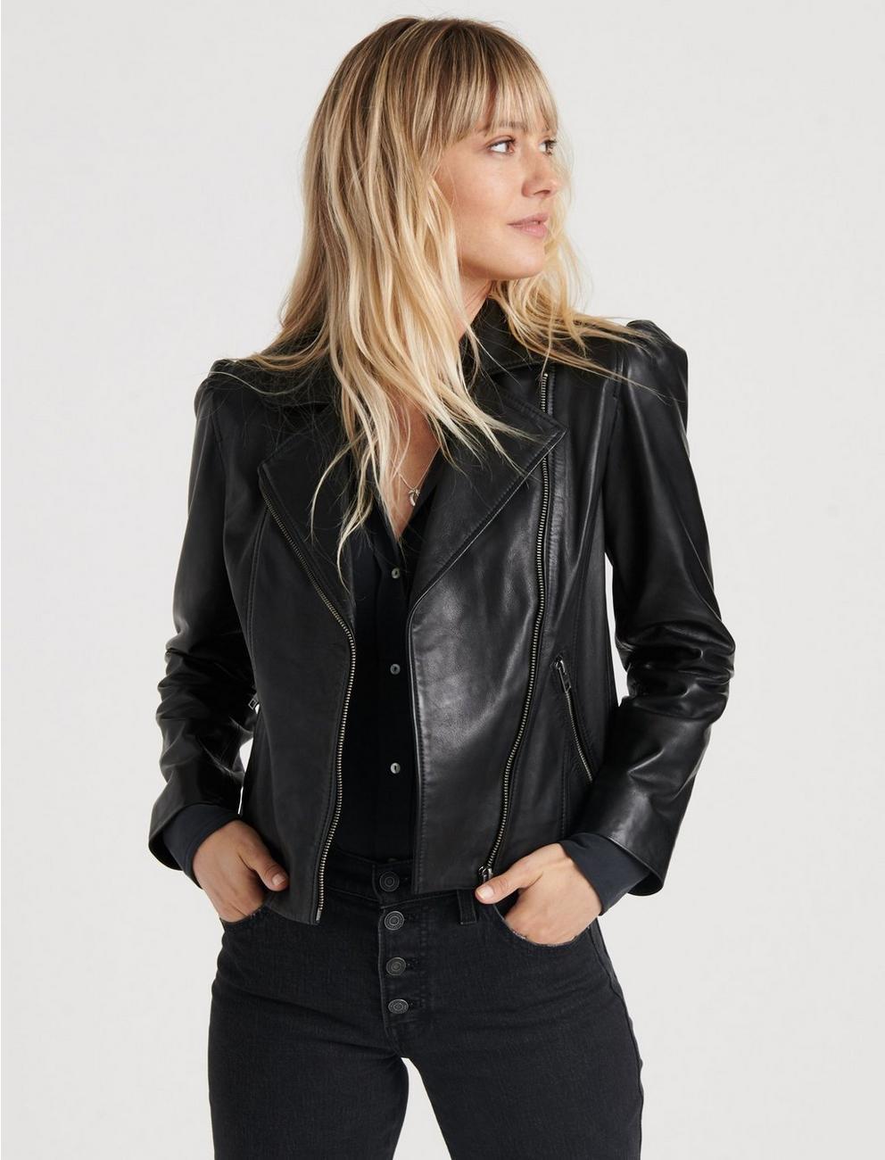 Puff Sleeve Leather Moto Jacket Moto jacket, Jackets