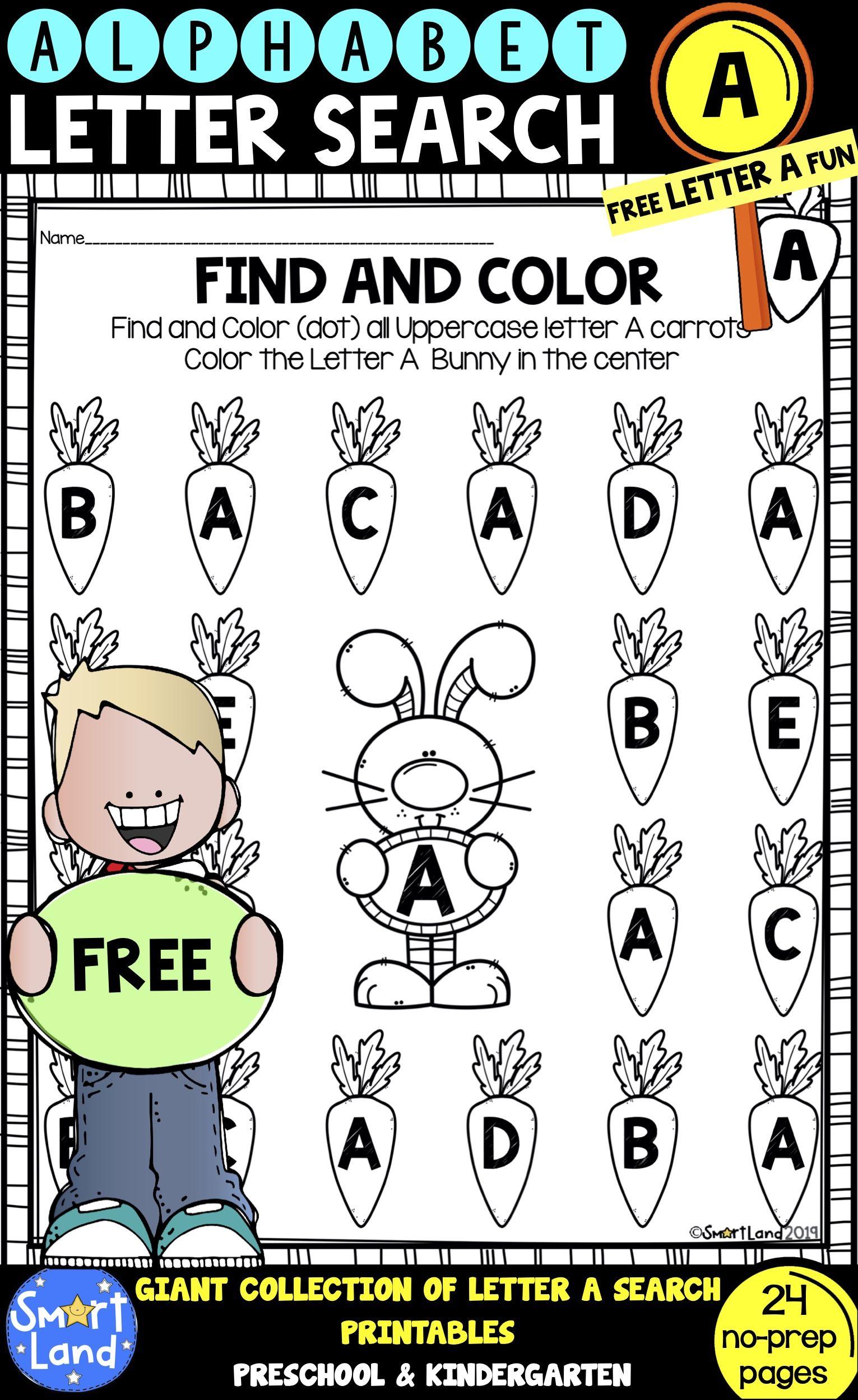 Alphabet Practice Free Letter A Search Worksheets Alphabet Practice Kindergarten Literacy Printables Free Lettering
