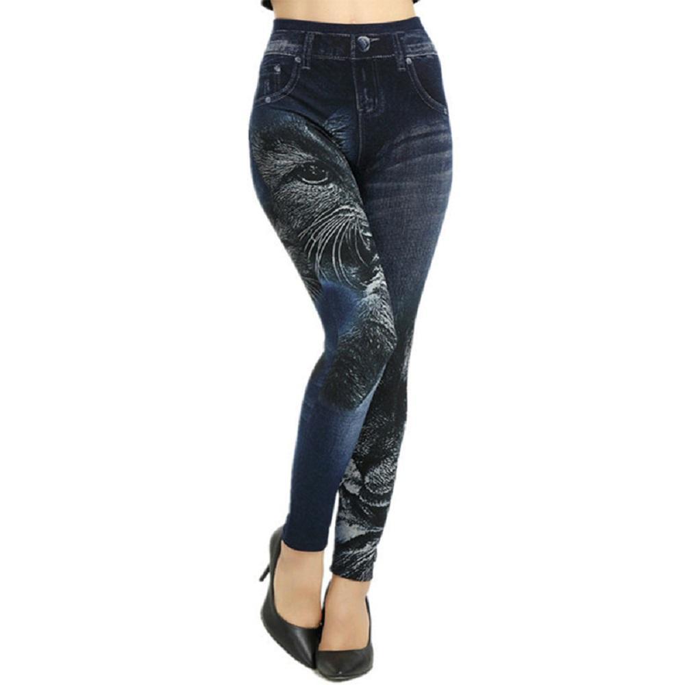 63269c3104fe7e Fashion Slim Women Leggings Faux Denim Jeans Leggings Sexy Hole Heart  Printing Casual Women Clothing Pencil