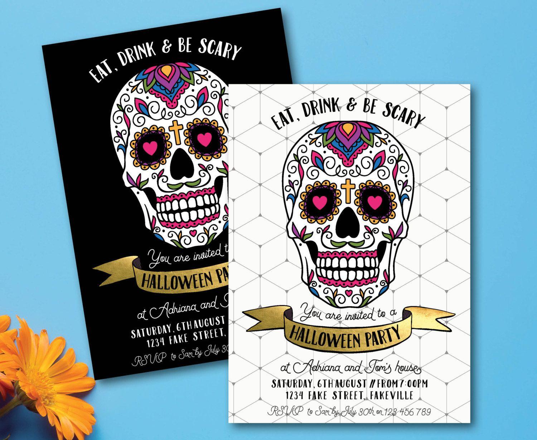Sugar Skull Halloween Invitation Day Of The Dead Invitation Dia De