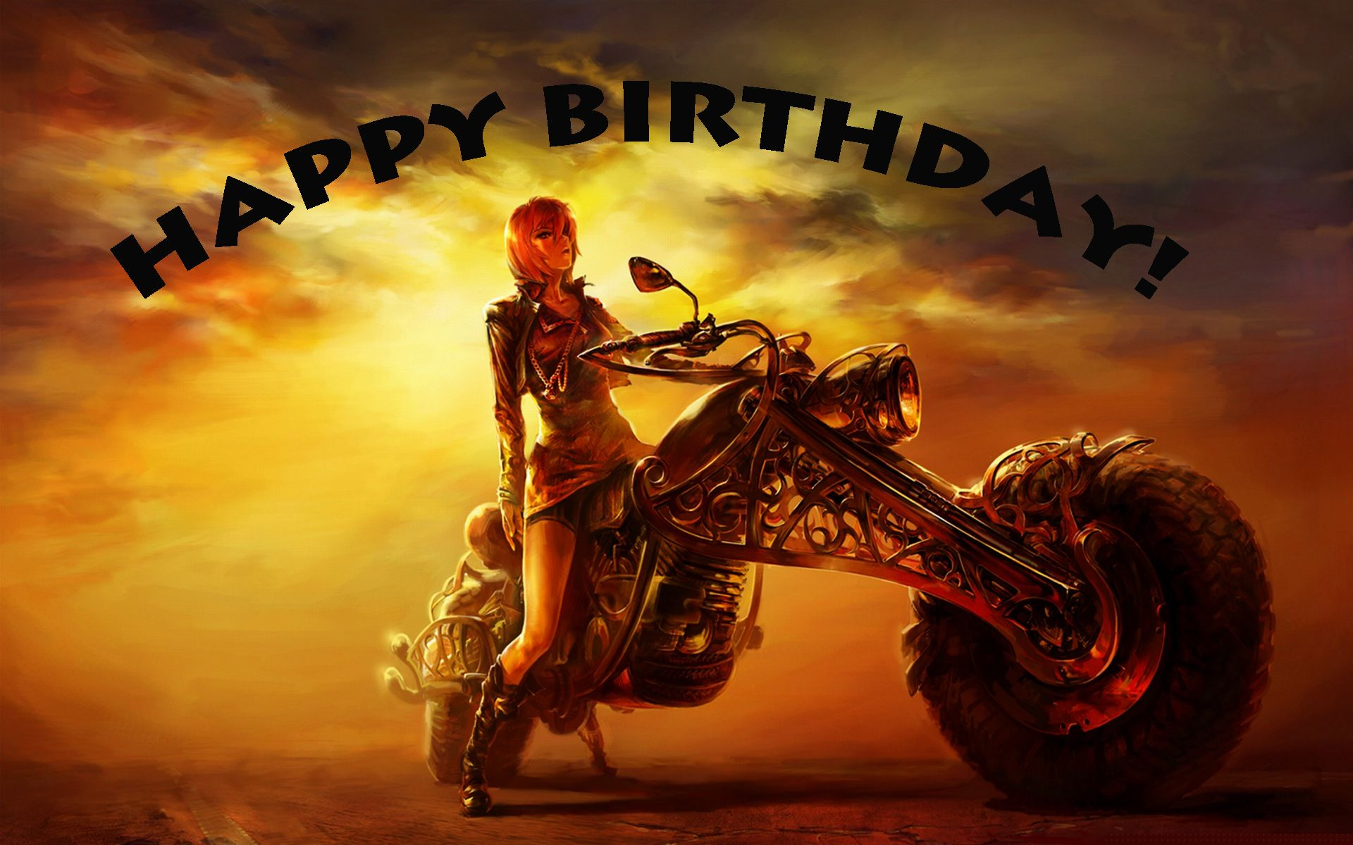 Happy Birthday Biker chick HipHip Leuke prenten