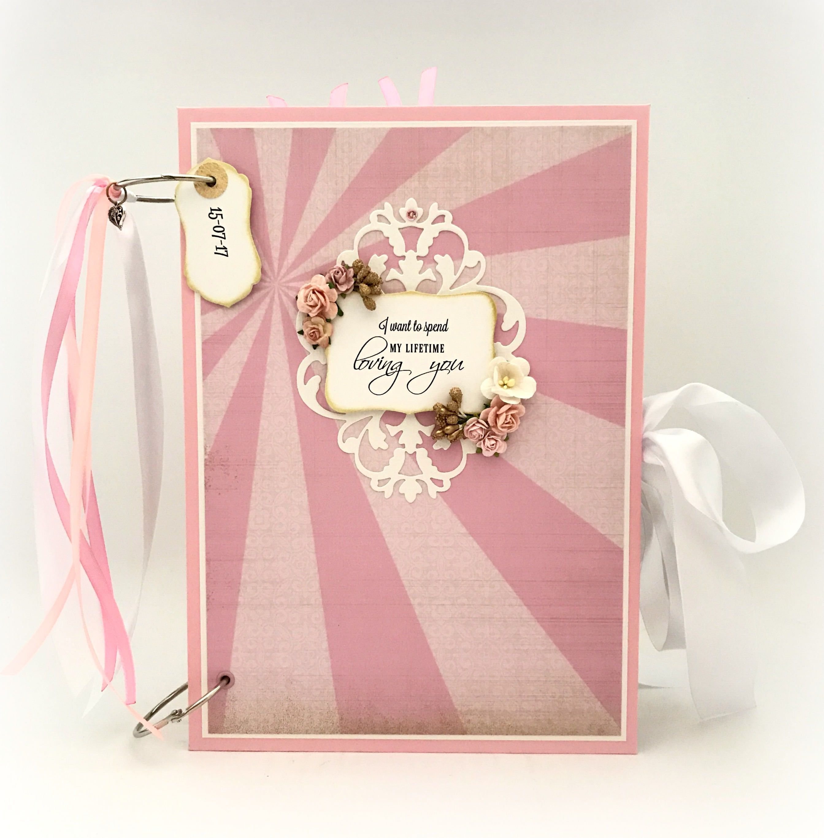 Romantic Pink and Gold Wedding Memory Book, Anniversary Gift ...