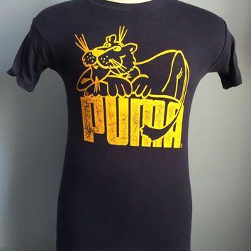 Vintage 70s Puma cat logo T-Shirt Navy   Yellow Tennis Shoes ... c39460bf9