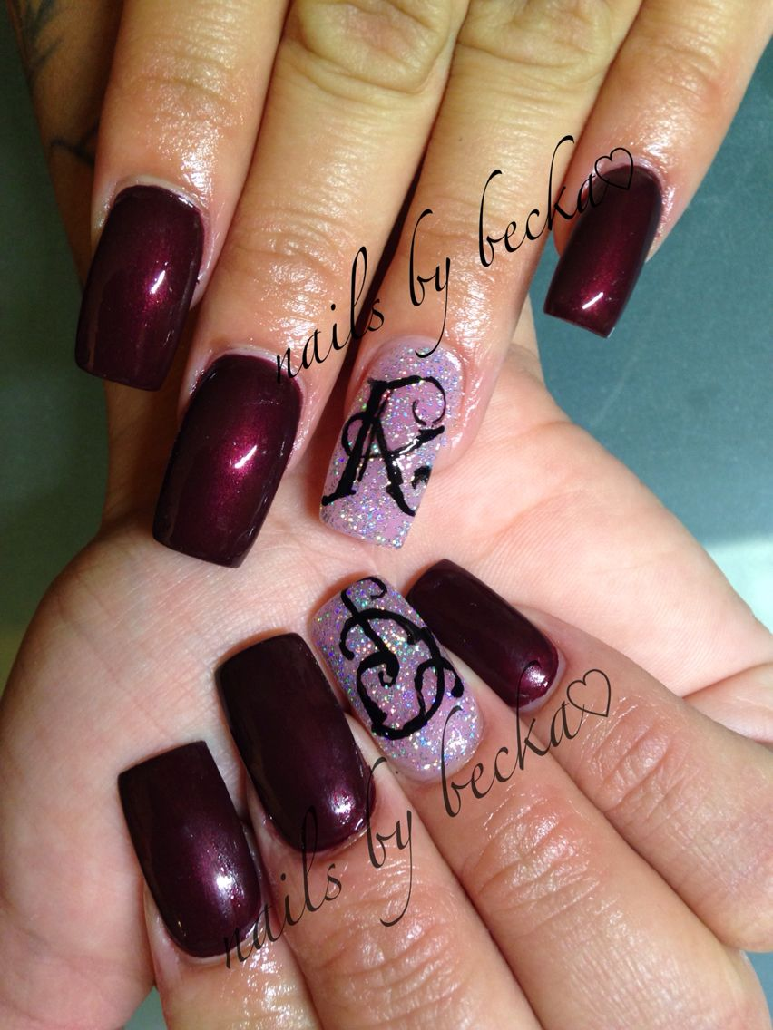 Burgundy Christmas nails old English free hand writing coffin nails ...